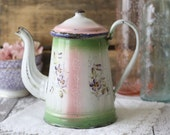 Antique French Enamelware Coffeepot - Hand painted, Pastel, Violets - RARE - circa 1880's