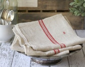 """Antique French Linen Torchon/Towel - Traditional Red Stripe - Monogrammed with a """"B"""" - circa 1910's"""