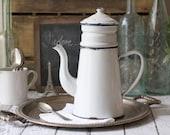 Vintage French Enamelware Coffeepot (Biggin) - circa 1930's
