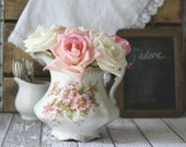 Antique Rose Shabby Chic Pitcher by Goodwin Pottery - circa 1844 - RARE
