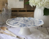 English Blue Bontanical Cake Plate or Footed Plate
