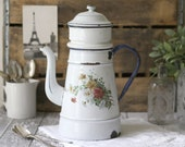 Antique French Floral Enamelware Large Biggin/Coffeepot with Navy trim - circa 1930's