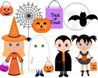 Halloween Costumes Kids digital clip art set, clipart personal and commercial use digital download