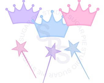 Princess Crown and Wands element digital clip art , clipart personal and commercial use digital download
