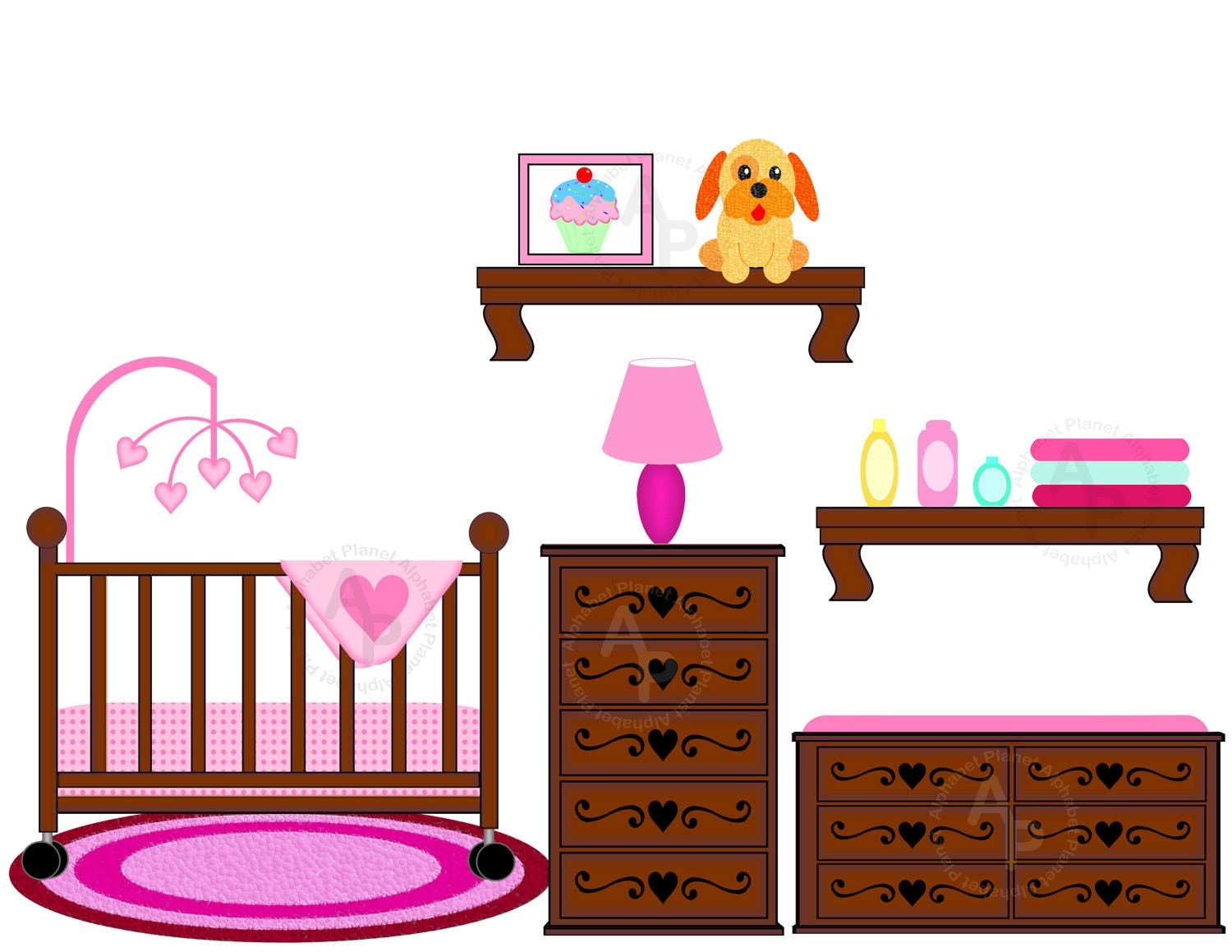 Baby Girl Nursery Crib Changing Table Digital By Sugarpiestudio2
