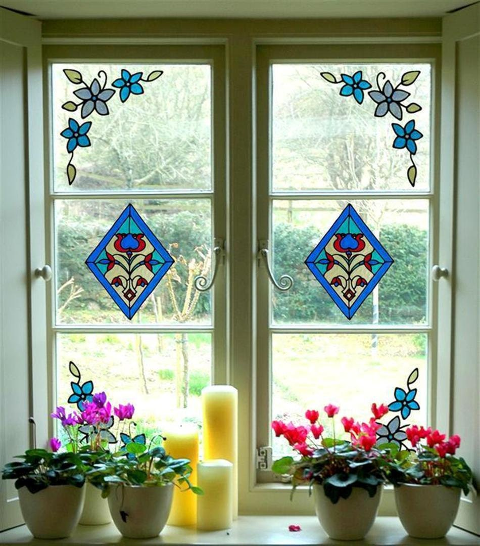 Stained glass cling window stickers set 2 diamonds and 4 for Glass decorations for windows