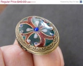 ON SALE Enamel locket ring (adjustable)
