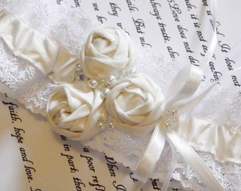 Ivory Wedding Garter - Silk and Lace with Rosettes, Swarovski Crystals and Glass Pearls