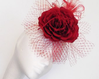 Scarlet Red Rose Hair Fascinator Hand Crafted in Silk with Veil