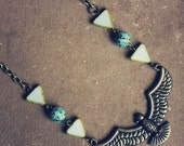 gizelle.  a tribal inspired statement bird necklace.