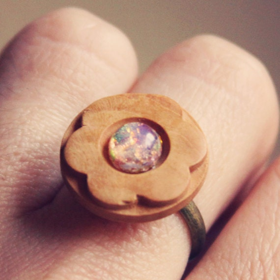 RESERVED emmaline.  a wooden flower ring with a hint of colorful sparkle.