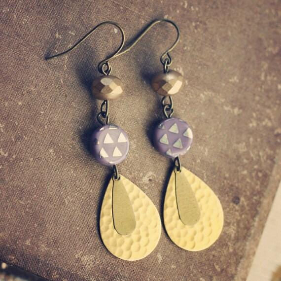 lauralie.  a pair of golden gypsy drop earrings.