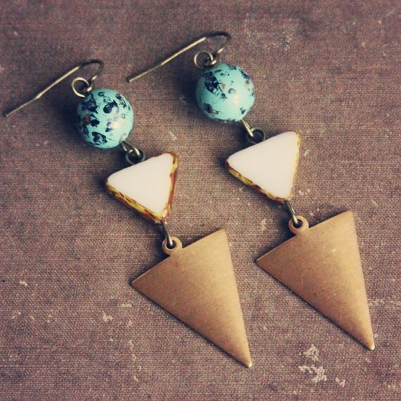 RESERVED FOR JULEA - thora. a pair of teal and white geometric earrings.