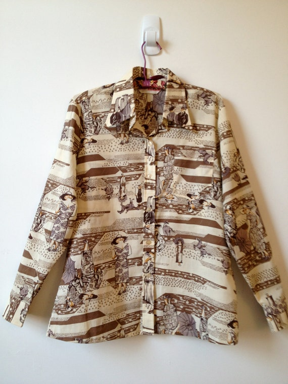 RESERVED vintage 1970s novelty 1920s fashion and polo games print shirt xl
