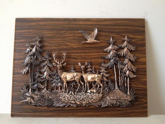 vintage 70s bronze deer in the forest scene faux bois wall art