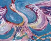 Bird painting, oil on canvas, original contemporary artwork by Elisaveta Sivas, bird canvas, ROSE BIRD, 23,6' x 35,4' (60 x 90 cm)