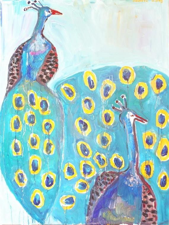Original oil painting, bird art, peacock, modern artwork by Elisaveta Sivas, large painting, 35,4' x 47,2'