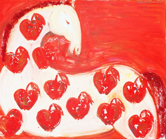Horse art, original oil painting, oil canvas, RED STALLION, horse with apples, large painting, artwork by Elisaveta Sivas, 100 x 120 cm