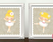 Set of 2 Prints. Romantic Ballerinas and birdie. Custom Listing for Rebecca.