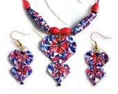 """Heart Necklace and Earring Set - """"Patriot"""" Origami"""