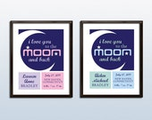 """Baby Nursery Poster - I Love You to the Moon and Back - Printable PDF - 8"""" x 10"""" - Personalized"""