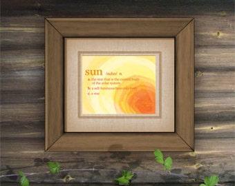 "Sun Definition Poster - Printable PDF -  8"" x 10"""