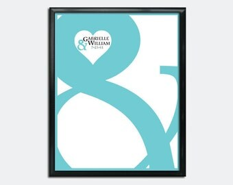 Wedding Guest Book Poster PDF - Ampersand & Hearts - Personalized Printable