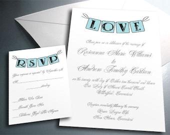 Wedding Invitation Card Suite Set - Printable PDF - Love Vintage Banner - Personalized - Custom Colors