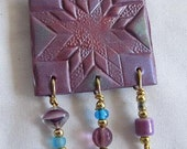 Polymer Quilt Pin - Purple Quilt Pattern Pin, Beaded Clay Pin
