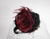 Red and Black Birdcage Veil Fascinator