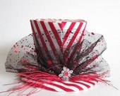 Mini Top Hat Red and White Stripes, Candy Stripe