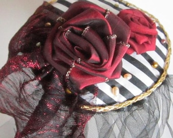 Pirate Wedding Fascinator, Crimson White and Black, Gothic Wedding, Photo Prop, Halloween
