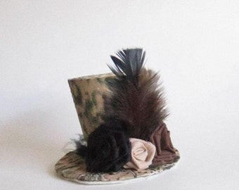 Small Top Hat Brown and Black Animal Print