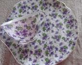 Vintage Lefton China 2pc Snack Set In Purple Violets