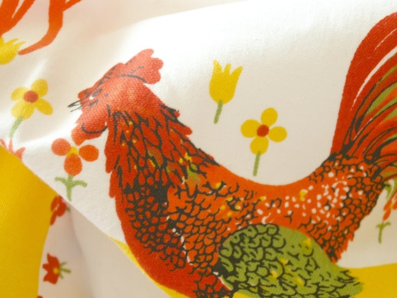 Large 1960's Vintage Tablecloth With French Country Roosters