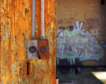 Two Outlets in abandoned warehouse