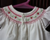 Hand-smocked bishop daygown with pink strawberries