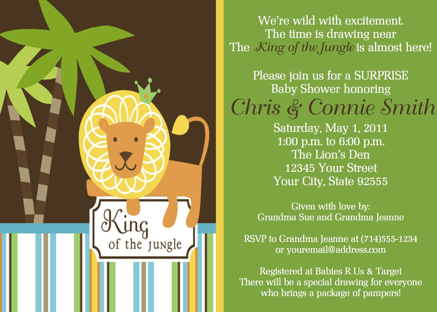 king of the jungle baby shower invitation reserved listing for