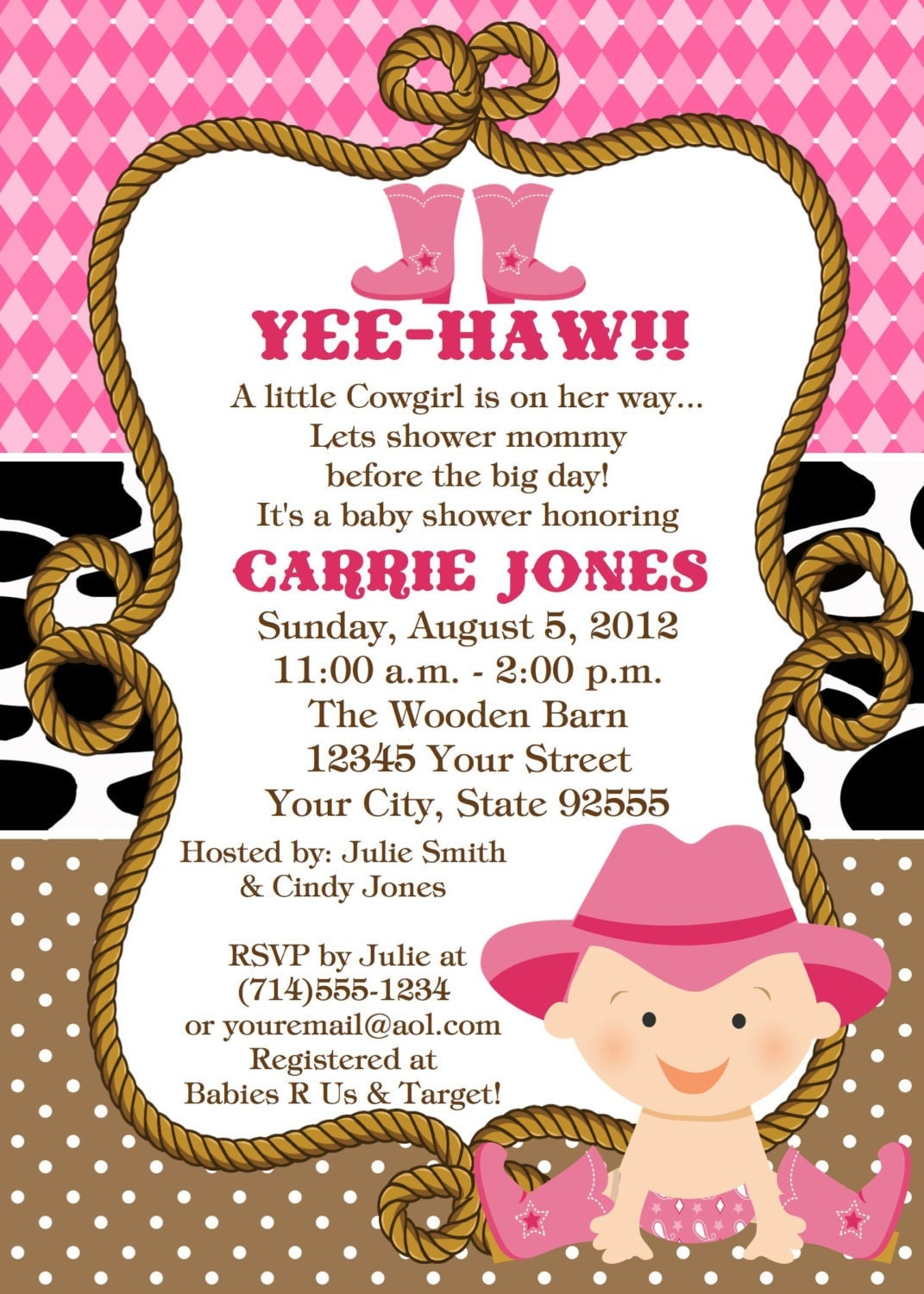 baby cowgirl baby shower invitation custom by lcscustominvitations