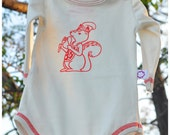 Organic Cotton - Red Squirrel Long Sleeve Natural Bodysuit Sizes newborn to 9 Months