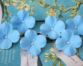 Set of 6 blue hydrangea hair pins with SW pearls