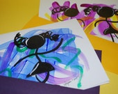 Dancers - set of 2 - original hand illustrated folded cards - acrylic ink - 5 x 6.5