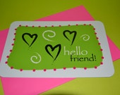 Hello friend hearts' note card - original design - professionally printed - 4 x 6
