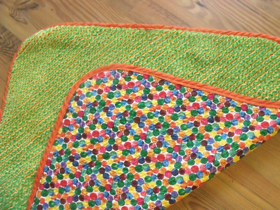 Faux Chenille Baby Blanket- very hungry caterpillar dots
