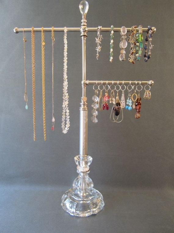 Hollywood Regency Style 3-Tier Nickel Jewelry Stand