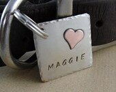 Pet ID Tag - Square Dog Tag with Copper Heart