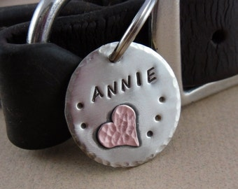 Pet ID Tag - Nickel Silver with Copper Heart Dog Tag