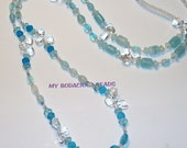 "Handmade 42"" ""Ocean Blues"" Rope NECKLACE Teal Art Glass and Clear Quartz Beads"