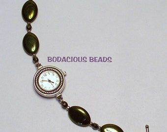 "Handmade  7.5"" Dark Olive Metallic BEADED WATCH BRACELET with Silver Toggle Closure"