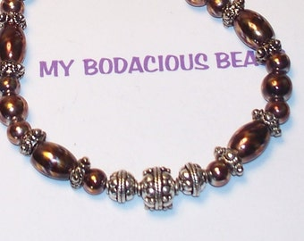 """Handmade 18"""" NECKLACE & EARRINGS SET Copper Color Metallic Iridescent Glass Beads  Silver Accent Beads"""